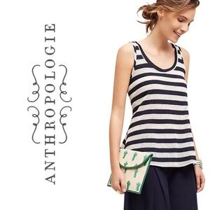 Anthropologie Navy Blue Pointelle Swing Tank